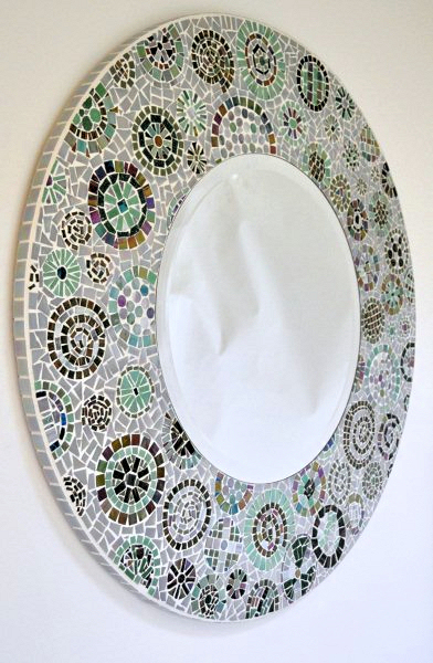 mirror frame with irridescent and matt tiles