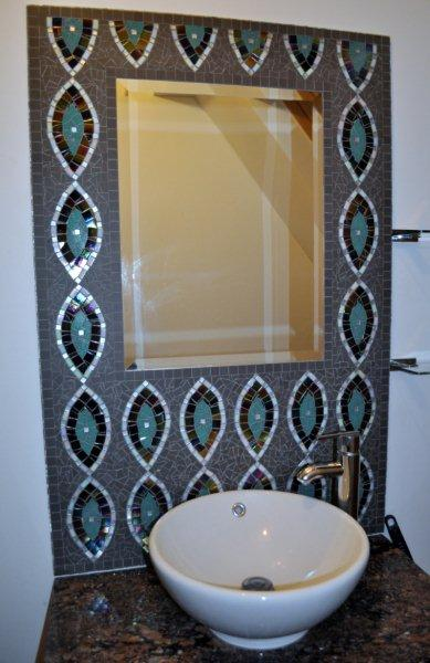 square mosaic mirror bathroom
