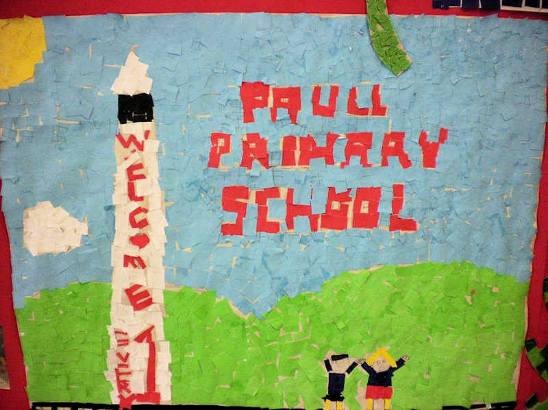 The children created a design for the final mosaic